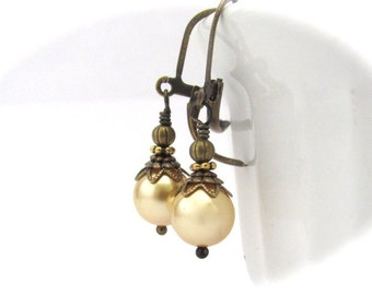 Gold Pearl Earrings Dangle Drop, Clip On Earrings, Swarovski Crystal Pearls Dainty Petite Wedding Jewelry