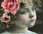 no1044-1 Instant Digital Download  -Little girl with flowers - Paris - Vintage - Princess -Antique FRENCH Postcard