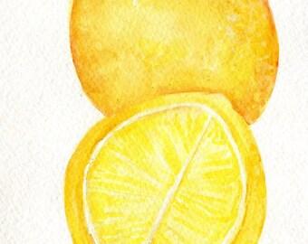 Lemons Watercolor Paintings Original, Small Fruit Painting, Food,  Kitchen Wall Art  5 x 7 original watercolor painting, watercolor art