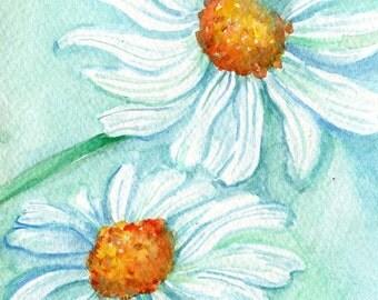 original watercolor painting Daisy Painting. minty home decor, Shasta Daisy original, flowers painting, daisies painting, wall art, flower