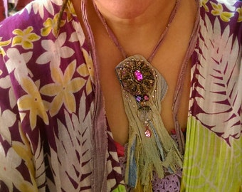 Arabia Necklace, Antique Silk, Cotton, Tattered, Bejewelled, Beaded, Soft Purple, Blue, Pink, Gold, Bohemian