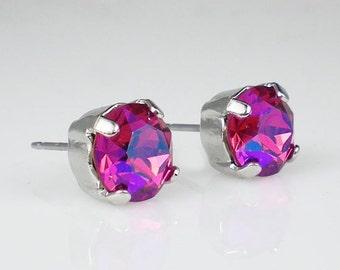 Raspberry Pink Rhinestone Stud Earrings Swarovski Fuchsia Glacier Blue Wedding Jewelry Flower Girl Earrings Bridesmaid Earrings