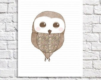 Kids Owl Decor Baby Boy Nursery Owl Print Cute Baby Girl Wall Art Nursery Owl Room Decor Whimsical Owl Picture Pink & Brown Owl Illustration