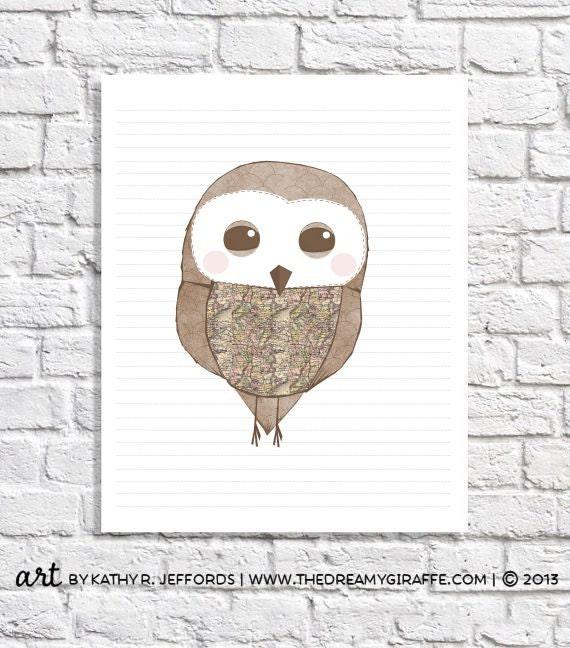 Kids Owl Decor Baby Boy Nursery Owl Print Cute Baby Girl Wall Art Nursery Owl Room Decor Whimsical Owl Picture Pink & Brown Owl Illustration