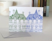 Small Gift Card Green and Blue Houses