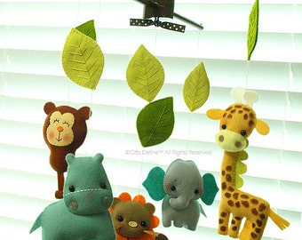 Free US Ship ZOO JUNGLE Quest, Custom Baby Mobile, Forest Safari Theme, Zoo Animals, Baby Crib Mobile, Baby Nursery or Kids Playroom Decor