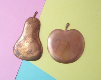 Vintage copper apple and pear pendants