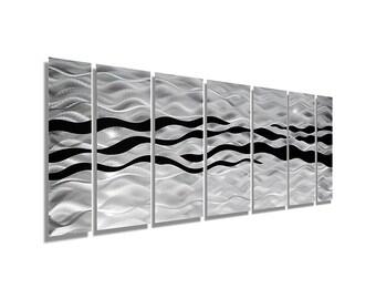Silver & Black Abstract Metal Wall Art - Handpainted Multi-Piece Modern Painting - 3D Contemporary Wall Sculpture - Wild Ways by Jon Allen
