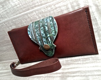 Leather Long Wallet, Phone Case with Wrist Strap & Zipper Pocket Brown / Coastal Forest Digital Print on 100% Genuine Leather