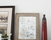 Framed Original Mixed Media Collage Painting, Neutral Colored Painting , Ready to Hang Wall Art