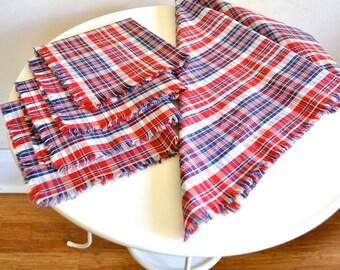 Table Linen Set / Red & Blue Plaid Cloth Napkins Set of 4 + 1 Furoshiki Wrapping Cloth
