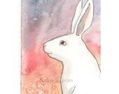 Original Watercolor Rabbit Painting - Warm Light - ACEO