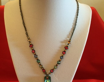 Avon Colored Rhinestone Necklace and Earrings