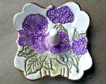 Small Ceramic Ring Holder Hydrangea gold edged