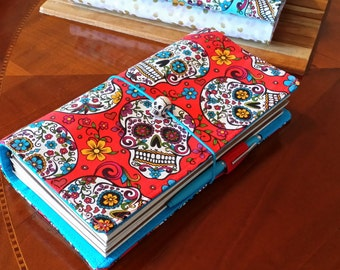 Fabric Travelers Notebook  Fauxdori Red Sugar skulls internal pockets pen loop