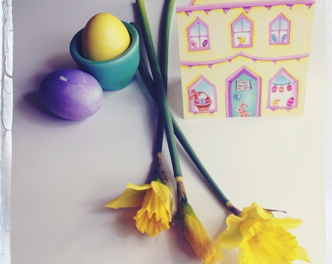 EASTER HOUSE Holiday CARD | Little Easter House Greeting Card | House Shaped Card for Easter | Valerie Walsh Greeting Cards