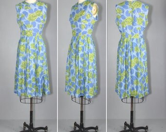 1960s dress / sleeveless / floral / EVENSONG cotton dress