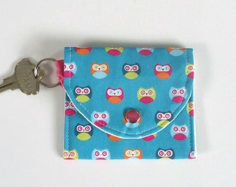 Coin Purse with Little Owls, Mini Wallet, Keychain Wallet