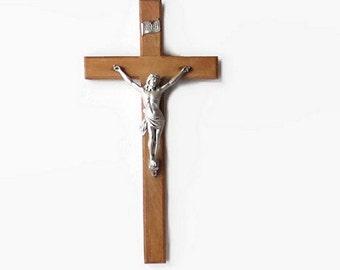 Vintage Large Wood Wall Crucifix, 20 Inch Catholic Cross, Religious Icon, Christian Relic, Jesus,  vestiesteam, vintageandmain