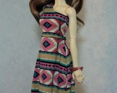 58cm BJD One Shoulder Maxi Dress Southwestern Pink and Mint
