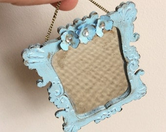 Dolls House Miniature Blue Shabby Antique Mirror