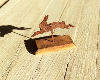 Dolls House Miniature Rusty Hare Sculpture Art in 1:12 scale