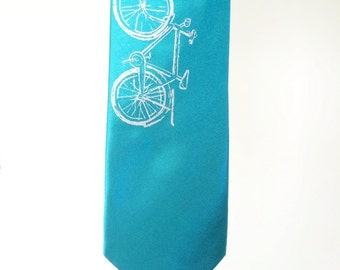 SALE - Silkscreen Print Necktie - Vintage Bike - Silver on Dark Turquoise