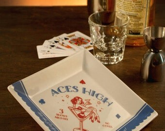 Aces High Coaster/Cocktail Napkin Tray - 1960's Vegas