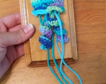 Small Mounted Crochet Jellyfish Wall Decor - 3