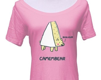 Camembear Scoop Neck Tshirt - Cute Funny Bear Pun - Foodie Cheese Snob - French