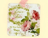 Gift Tags , Vintage Morning Glory , Morning Glories , Pink Tags , Pink and Green , Pour Vous , French Tags