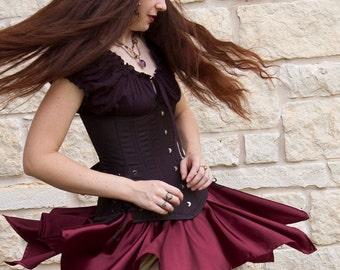 Burgundy Satin Mini Pixie Skirt Fairy Costume