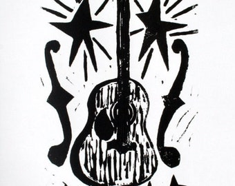 "guitar - 9""x12"" linoleum block print - wall art"