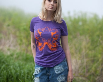 Octopus Women's Tee Screen Printed Purple Top