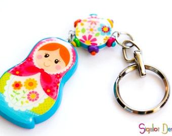 Matryoshka key chain - bag charm, purse charm, Babushka doll, Russian nesting doll ornament