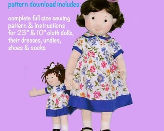 """Cloth doll pattern - 23"""" doll and her own 10"""" rag doll sewing pattern - PDF doll pattern"""