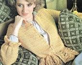 Peplum Cardigan Crochet Pattern Scalloped Cardigan Crochet Pattern Women Vintage Paper Original NOT a PDF