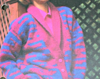 Cardigan Knitting Pattern Jacket Women Bust Sizes 32 - 38 Sweater Bulky Weight Yarn Vintage Paper Original NOT a PDF