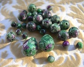 Ruby Zoisite Faceted Beads Assortment 32 beads round and teardrops 10mm 6mm and 18mm x 14mm NATURAL ELEMENTS