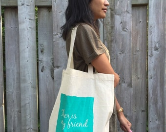 Fiber Is My Friend - Screenprinted Canvas Tote Bag for Knit or Crochet