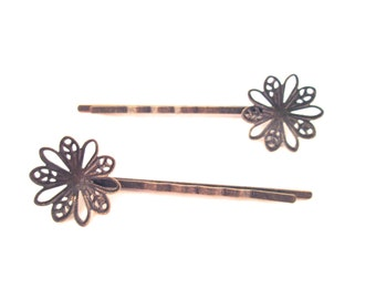 10 brass flower bobby pins  20x62mm