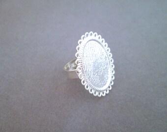 10 Oval Bezel Rings Blanks 18x25mm