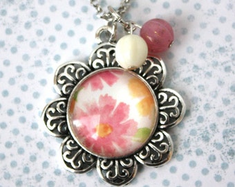 Pendant Necklace - Pink Floral in an Antique Silver Flower Pendant