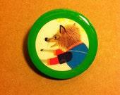 Funky Fox Wooden Brooch