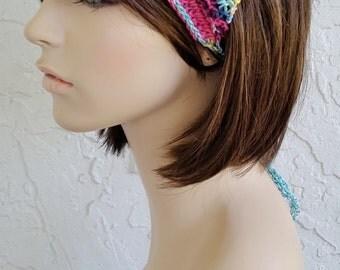 hand knit Bandana dorag ~ gypsy spirit knit  ~ cotton boho mix