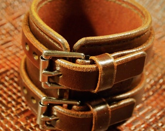 Brown Leather Wristband Double strap Handstitched Luxury Cuff Bracelet made for YOU in NYC by Freddie Matara