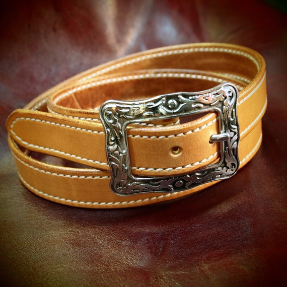 Leather belt natural, ladies, Men- Oiled, stitched and sealed- Western style belt made for You in Brooklyn by Freddie Matara  NYC USA
