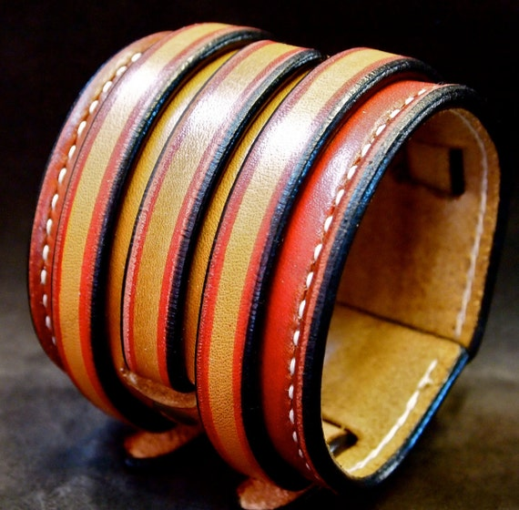 Leather cuff bracelet Red and brown Hand dyed, handstitched, burnished, waxed and handmade for YOU in Brooklyn NYC by Freddie Matara