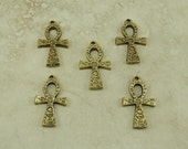 5 Large Egyptian Ornate Ankh Charms > Egypt Hieroglyphics - American Made Lead Free Pewter Gold Tone Finish - I ship internationally