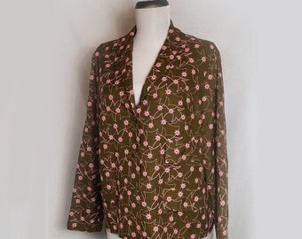 Vintage Womens Jacket, 1960s, Olive Green, Pink Embroidered Flowers, Loubella, Medium